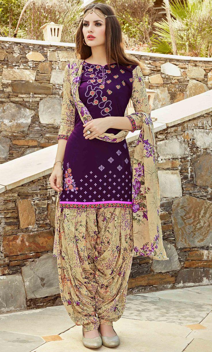 Fashionnow Purple Cotton Patiala Salwar Kameez
