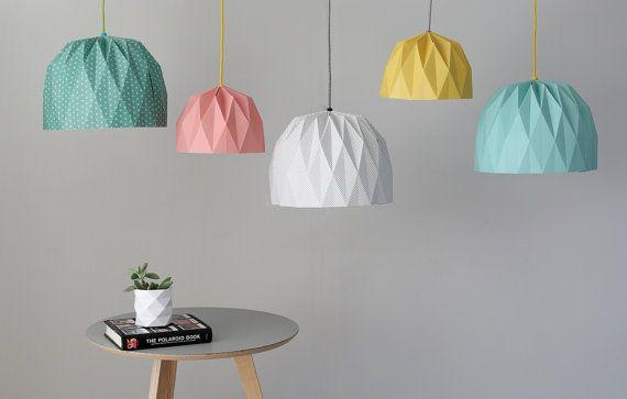 Large Origami Lampshade Colored Hanging by TweelingenHomeDecor