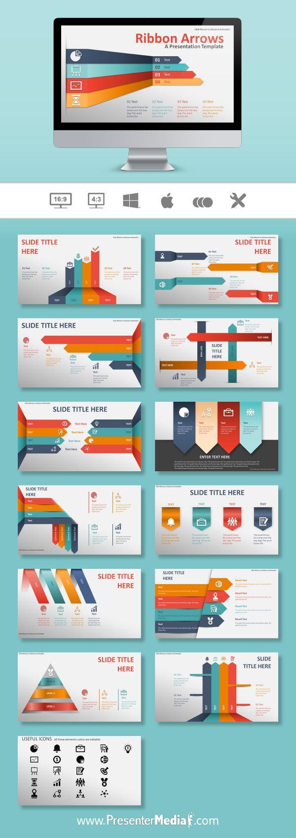 Ribbon Arrows Template #PowerPoint #Keynote http://bit.ly/2blZk6J