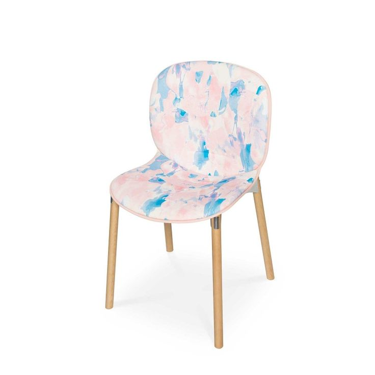 RBM Noor chair x NYE |Light wood by Anna Alanko | FEATHR™    Featuring NYE fabric. Initially sketched with acrylic paint, this rich and vibrant contemporary Scandinavian fabric design adds a unique burst of colour to the modern home.