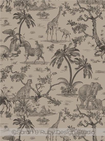 Safari Toile Custom Fabric And Wallpaper By Sarah Amp Ruby