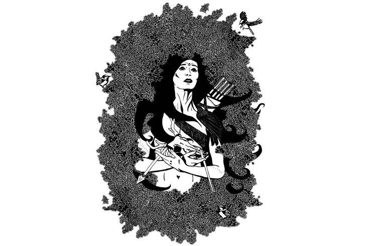 Goddess Diana - Women Childbirth Pregnancy Protection - Mother Nature - Feminine Pagan Mythology - Baby Shower Gift - Deer Skull Blue Wren by Inklining on Etsy https://www.etsy.com/au/listing/575885706/goddess-diana-women-childbirth-pregnancy