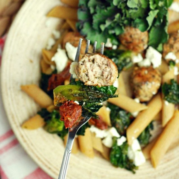 Kalettes pasta with meatballs. Whole grain pasta low fat meatballs and kalettes …