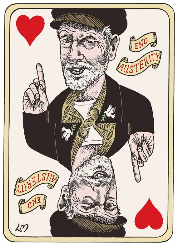 This 297mm x 420mm print of Jeremy Corbyn as the King of Hearts