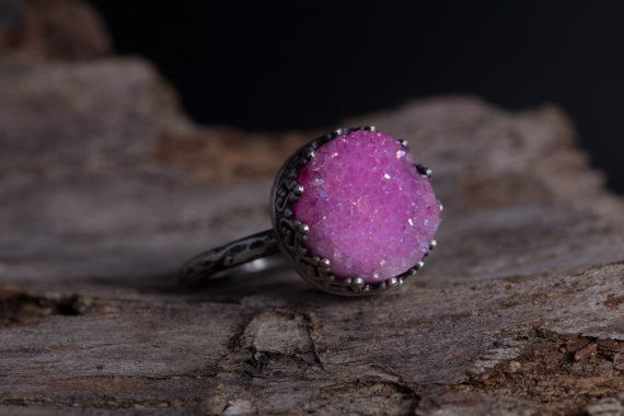 Pink Druzy Ring-Crown Sterling Silver by MarrenJewelry on Etsy