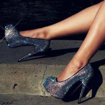 Glitter heels for women