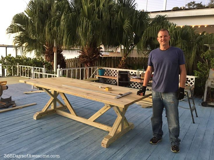 This DIY Farm style table that my husband and I built. It took 6 hours and cost $130 in materials.