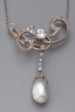 AN ART NOUVEAU DIAMOND AND PEARL PENDANT. Of a-symmetrical foliate design, centred by a claw-set circular-cut diamond, a diamond-capped baroque pear-shaped pearl pending from a line of old-cut diamonds, white-gold chain necklet, fitted case.