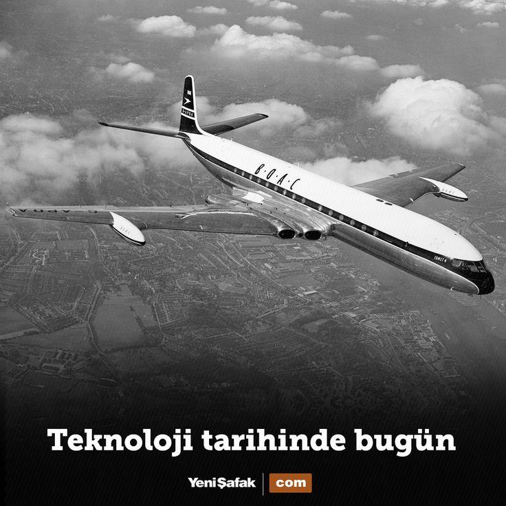 68 yıl önce bugün İngiliz De Havilland şirketi, dünyanın ilk jet motorlu yolcu uçağı De Havilland Comet'i başarıyla uçurdu. Uçağın kanadına yerleştirilen 4 adet Havilland Ghost 50 turbojet tipi motor ile 770 km/s hız yapabilmekteydi.