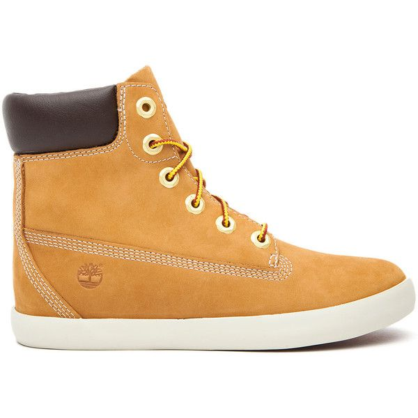 The Timberland 6-Inch Battlebro Cupsole Boot in Wheat ($84) ❤ liked on Polyvore featuring shoes, boots, wheat, grip shoes, timberland shoes, wedge boots, fake boots and wedge heel boots