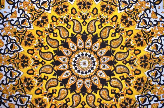 Yellow star mandala tapestry online sale hippie tabel cover tapestry ikat throw  #Handmade