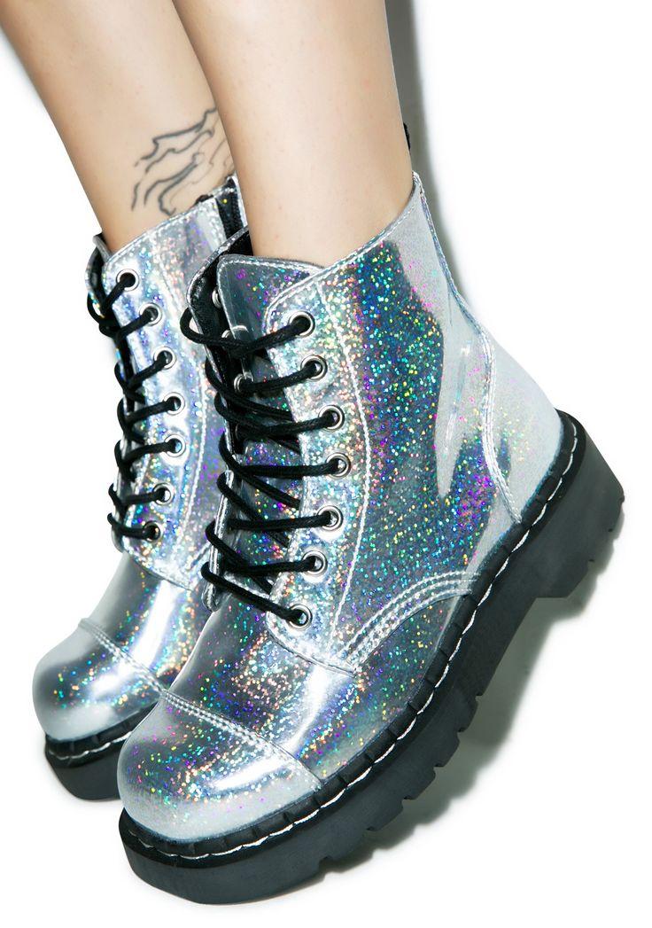 T.U.K. Hologram Anarchic 7 Eye Boots   Dolls Kill