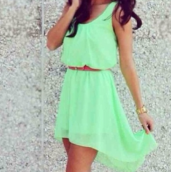 Green Mint Dress with a Cute Belt! Just wish the length was longer!