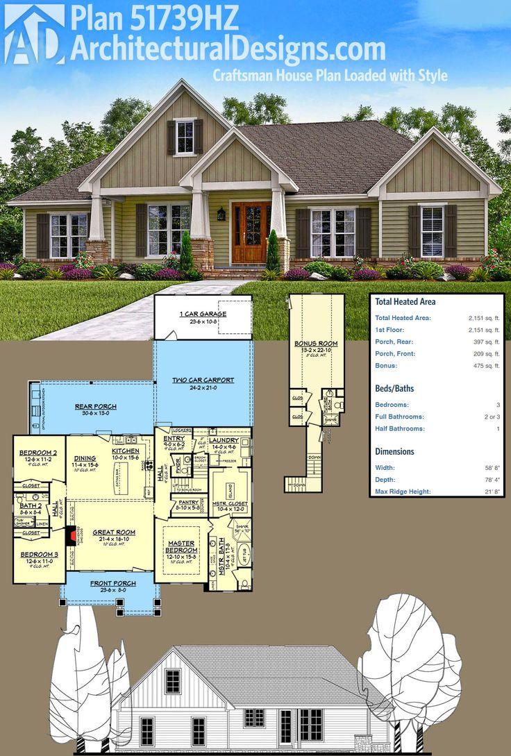 Architectural designs house plan 51739hz gives you a 2 car carport plus a 1