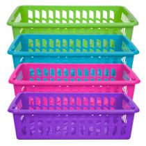 Bulk Rectangular Green And Blue Slotted Plastic Storage Baskets At  DollarTree.com