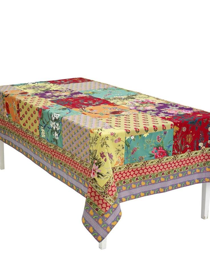 Tischdecke - Mediterranes Patchwork aus vernähten Druckstoffen. Rückseiten lila-uni.