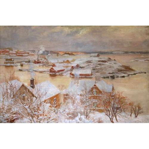 Albert Edelfelt: Winter Landscape at Kaivopuisto 1893 - Talvimaisema Kaivopuistosta (Journee de Decembre)