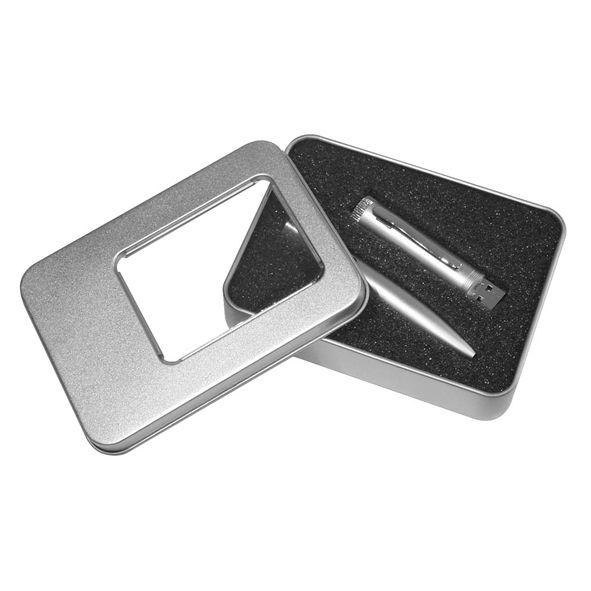 COD.BM032 Bolígrafo metálico con USB Pendrive 2 GB incorporado. Presentación en elegante estuche de aluminio con ventana.