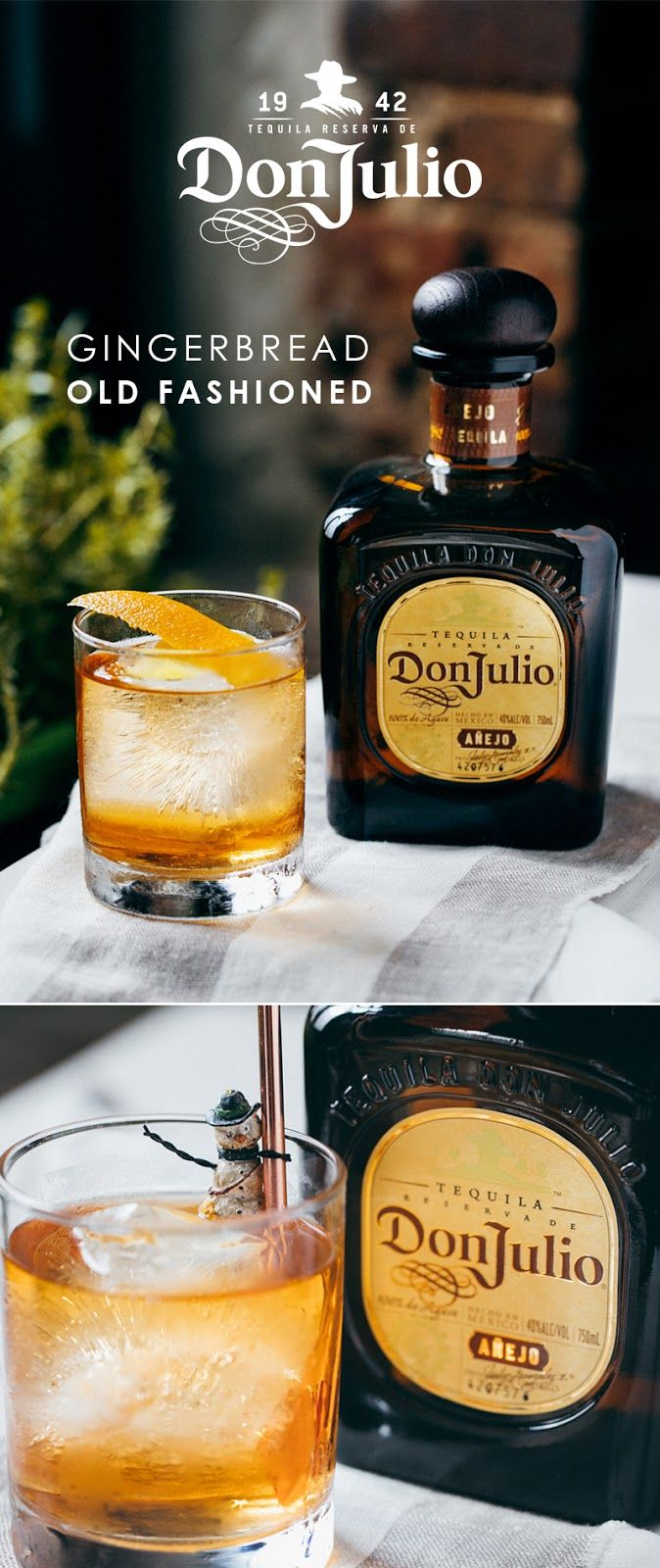 Sometimes, all you need is tequila, gingerbread and some snowmen to bring the holiday spirit to your house party. Combine 1 ½ OZ of Tequila Don Julio Añejo, ¼ OZ gingerbread spice infused agave, 2 dashes Aromatic bitters and 1 dash Aromatic orange bitters into a mixing glass with ice. Stir well. Strain contents into a rocks glass over fresh ice. Garnish with saffron threads. Garnish with lemon zest.