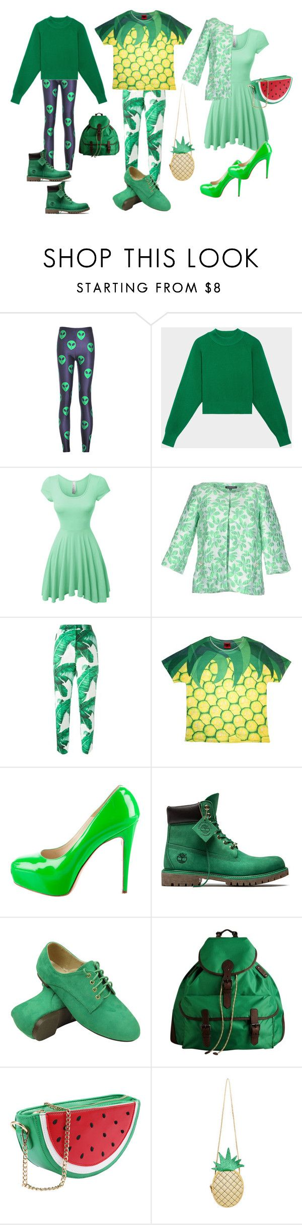 green outfits by clodie-durand on Polyvore featuring mode, LE3NO, DKNY, Dazzle & Jolt, La Camicia Bianca, Dolce&Gabbana, Chicnova Fashion, Brian Atwood, Timberland and Burberry
