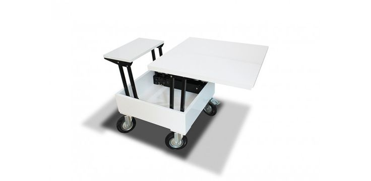 Table basse relevable design compact avec roues blanc for Table basse multifonction