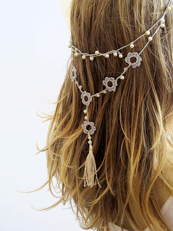 Ganchillo diadema o collar diadema novia perlas borla accesorios para el cabello hechos a mano diadema Crochet diademas para ideas de regalos mujeres
