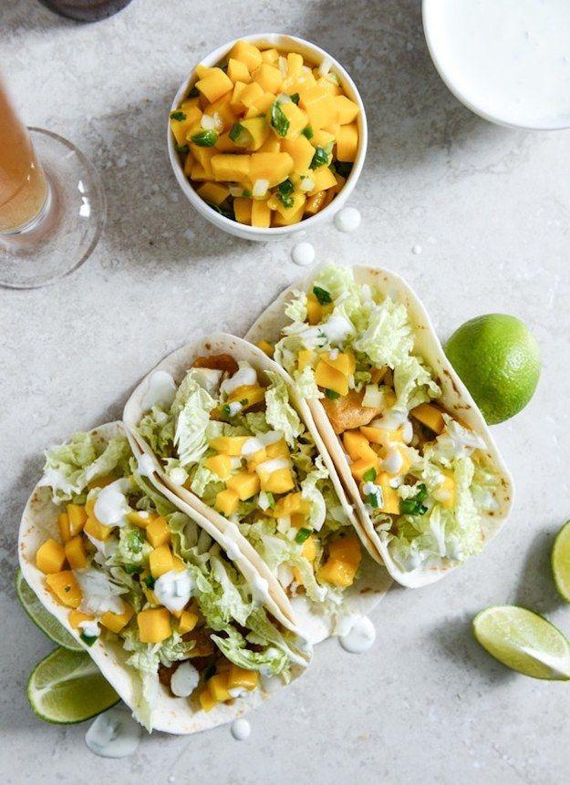 Beer-Battered Fish Tacos With Margarita Mango Salsa