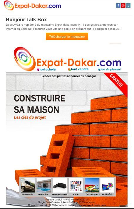 newsletter pour la sortie du magazine n°2 Expat Dakar site de petites annonces (novembre 2014)