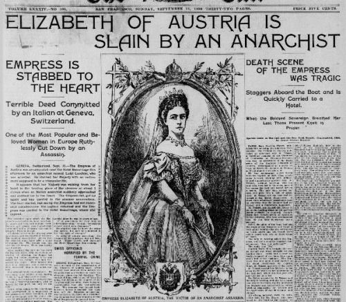 (source :Alexander Palace.org)Death notice of Empress Sissi in American Press, date: September 11th, 1898.