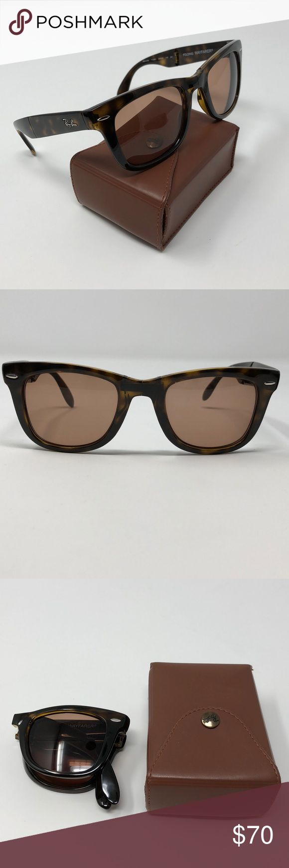 RB 4105 710/51 50/22/140 2N **FRAME ONLY** Ray-Ban Folding Wayfarer sunglass FRAMES ONLY have all the same iconic lines as the original, but has been constructed into a compact, folding style. These sunglasses are practical, portable, and always in style. *****These sunglasses currently have a prescription RX lens inside of them, so replacement lens is needed.***** Frames have a few light scratches, not really noticeable. Includes frames, protective case & cleaning cloth. Ray-Ban Accessories…
