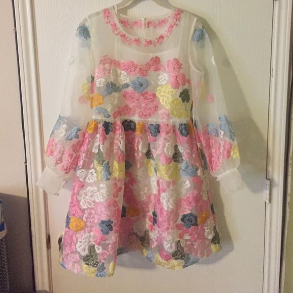 Adorable kawaii dress! Floral embroidered goodness! No tags, made in Japan, sheer over, with a white slip included. Dresses