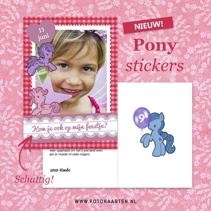 Nieuw! Pony stickers voor alle kinderfeestjes. Je kunt bij Fotokaarten.nl ook een proefkaartje opslaan om te bewaren en later verder te gaan.
