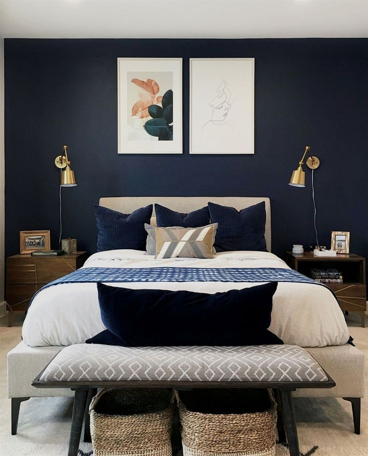 Navy Blue Modern Bedroom On Point Featuring Our Talbert Nightstands Photo Via Kevinjo92 Modernbedrooms Bedroom Interior Home Decor Bedroom Bedroom Design