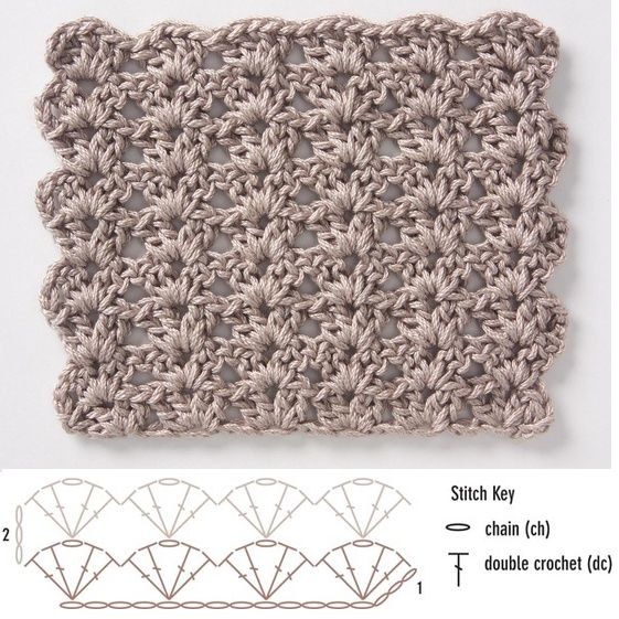 Crochet stitch diagram; shell pattern. This would be nice for a scarf.                                                                                                                                                      More