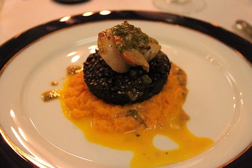 ... with seared West Cork scallop, carrot puree and watercress salsa verde