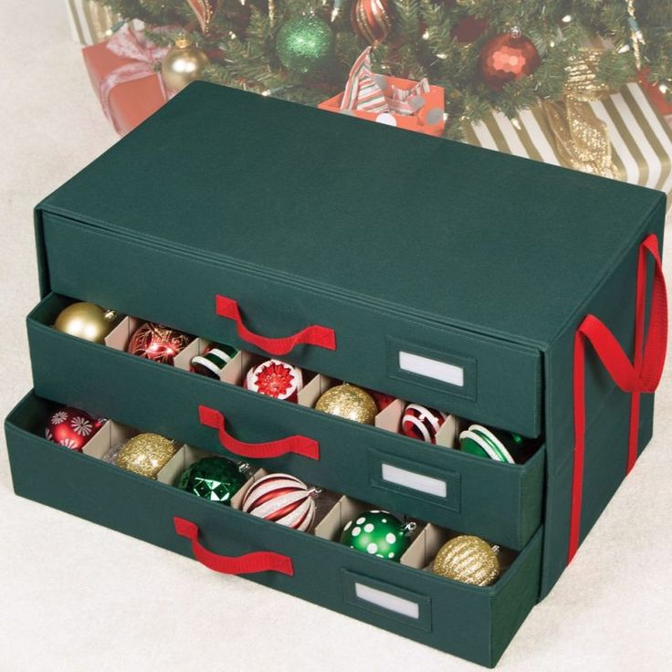 Decoration Alluring Evergreen Christmas Ornament Storage Box Design Red  Handle Plus Name Tag Divider Ornament Inside