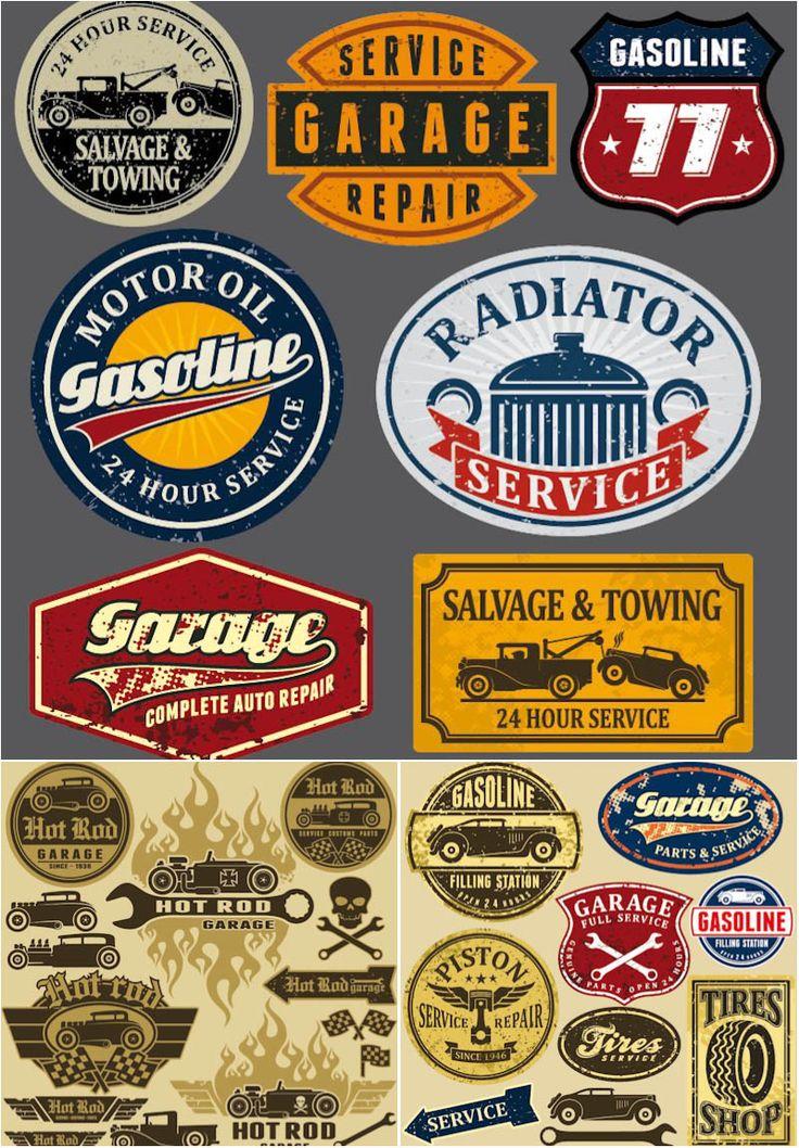 Grunge automotive labels and signs - Gasoline, Radiator service, Garage, Salvage & Towing and other. Alternative description: vintage service station labels.