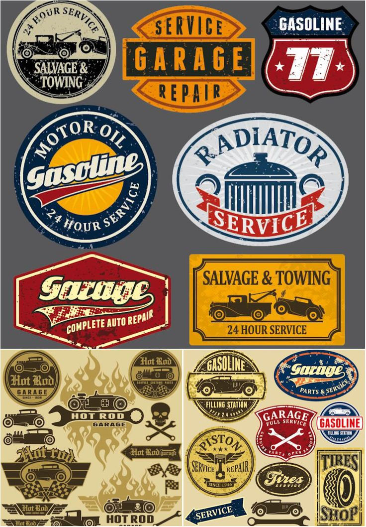 Grunge automotive labels and signs - Gasoline, Radiator service, Garage, Salvage & Towing and other. Alternative description: vintage service station labels.