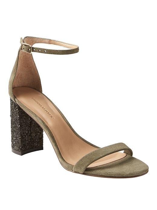2faf7b23cce5 Banana Republic Bare High Block Heel Glitter Sandal