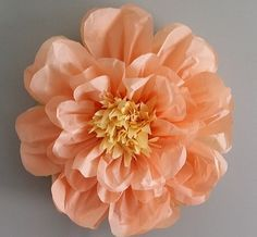 Set of 3 giant paper flowers l pink vanilla perfect decorations our handmade 20 inch tissue paper flower can be adhered to any surface as a decor piece our flowers comes pre assembled but requires to be bloomed open mightylinksfo