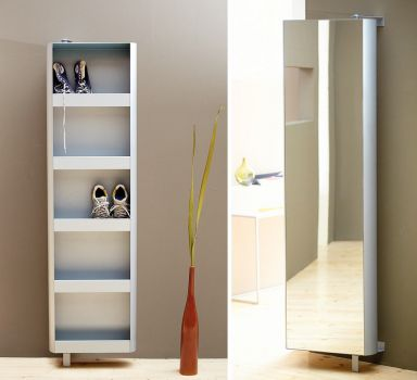 Turn around shoe storage with mirror on the front - very clever for small spaces. via Schoener Wohnen