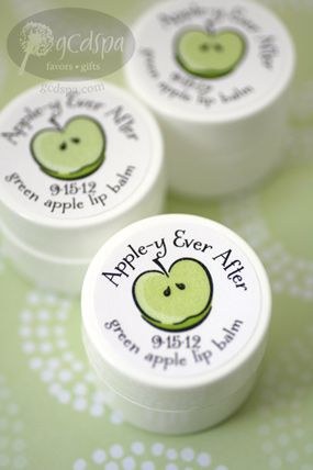 Apple-y ever after. Lip balm wedding favors