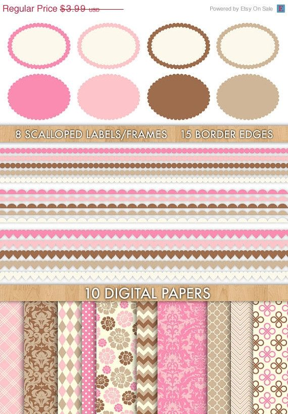 75% OFF Clip Art and Digital Paper Set // by aestheticaddiction