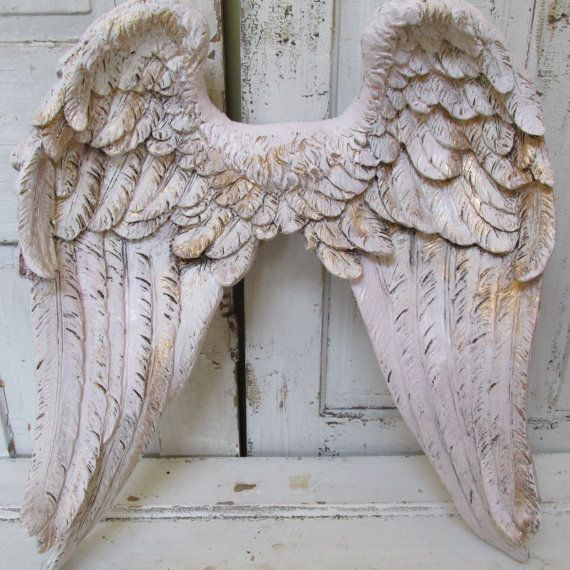 Angel wings wall decor white pink tinted by for Angel wings wall decoration