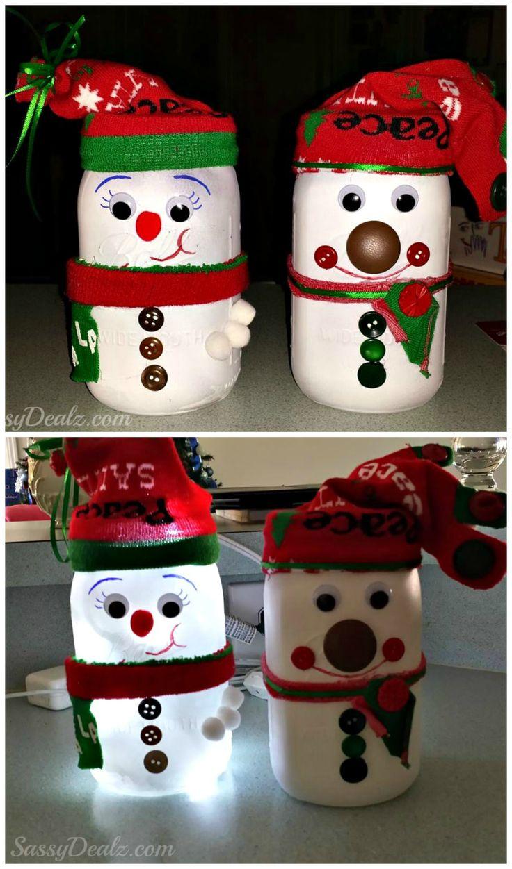 DIY Snowman Mason Jar Craft For Kids (Light Decoration) #Christmas art project #Winter craft #Christmas craft for kids  CraftyMorning.com