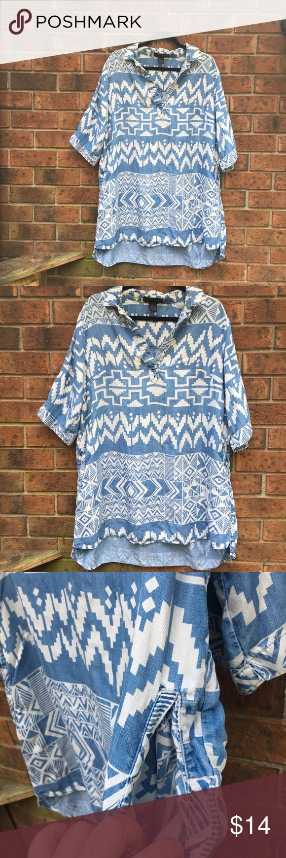 Aztec print tunic with pockets Long t shirt tunic with pockets! In warmer weather, it could totally be a short dress! No signs of wear, perfect to pair with leggings and boots. Grace Elements Tops Tunics