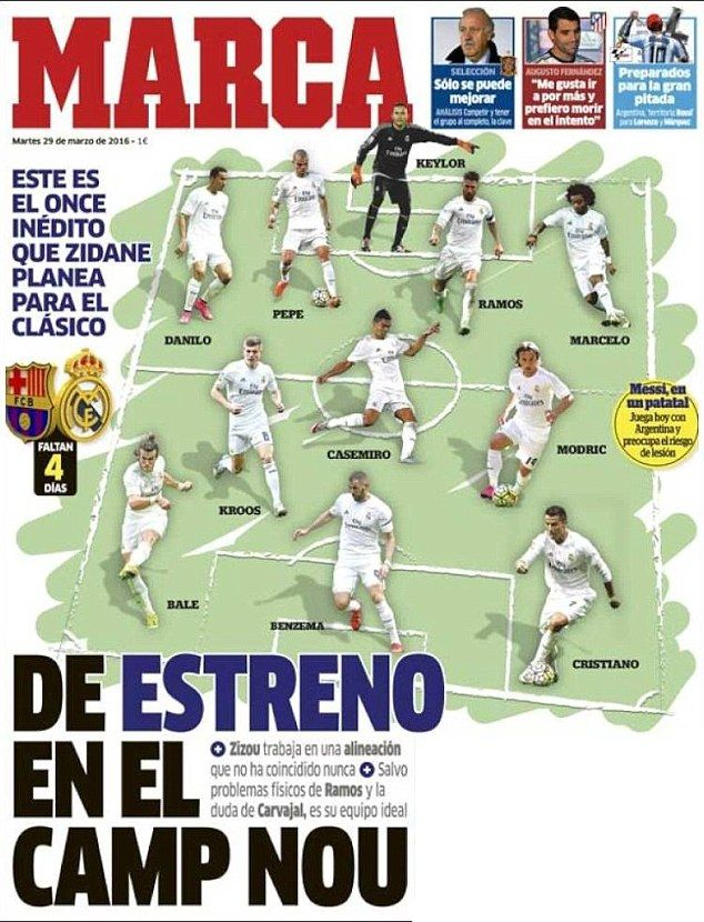 Real Madrid boss Zinedine Zidane to name 'unprecedented XI' at Barcelona | Daily Mail Online