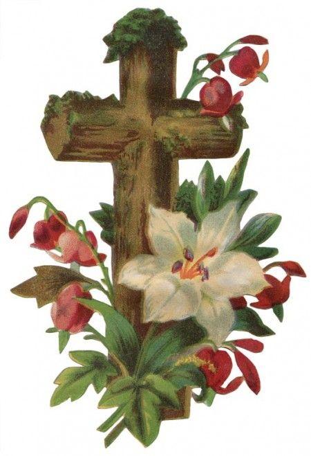 Vintage Easter Cross with Flowers Artwork @ Vintage ...