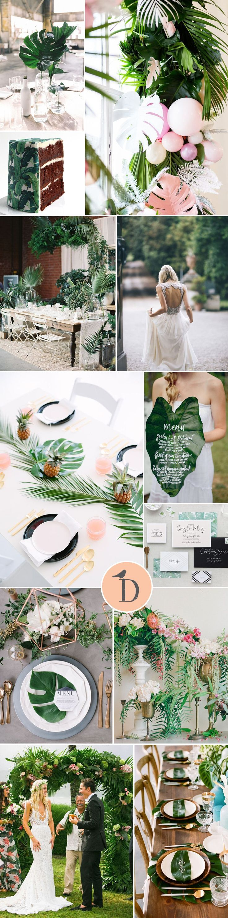 TROPICAL PALM LEAF WEDDING INSPIRATION It might not quite be summer yet – but this is one wedding trend to watch out for! Tropical palm leaves make a gorgeously graphic statement. Simple and modern, they make a great way to tie together different elements of your wedding.