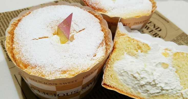 シフォン生地のカップケーキに、生クリームをとじこめました♥ ふわふわ~(#^^#)